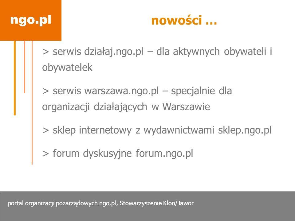 nowości … > serwis działaj.ngo.pl – dla aktywnych obywateli i obywatelek > serwis warszawa.ngo.pl – specjalnie dla organizacji działających w Warszawi