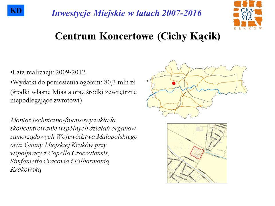Centrum Koncertowe (Cichy Kącik) Lata realizacji: 2009-2012 Wydatki do poniesienia ogółem: 80,3 mln zł (środki własne Miasta oraz środki zewnętrzne ni