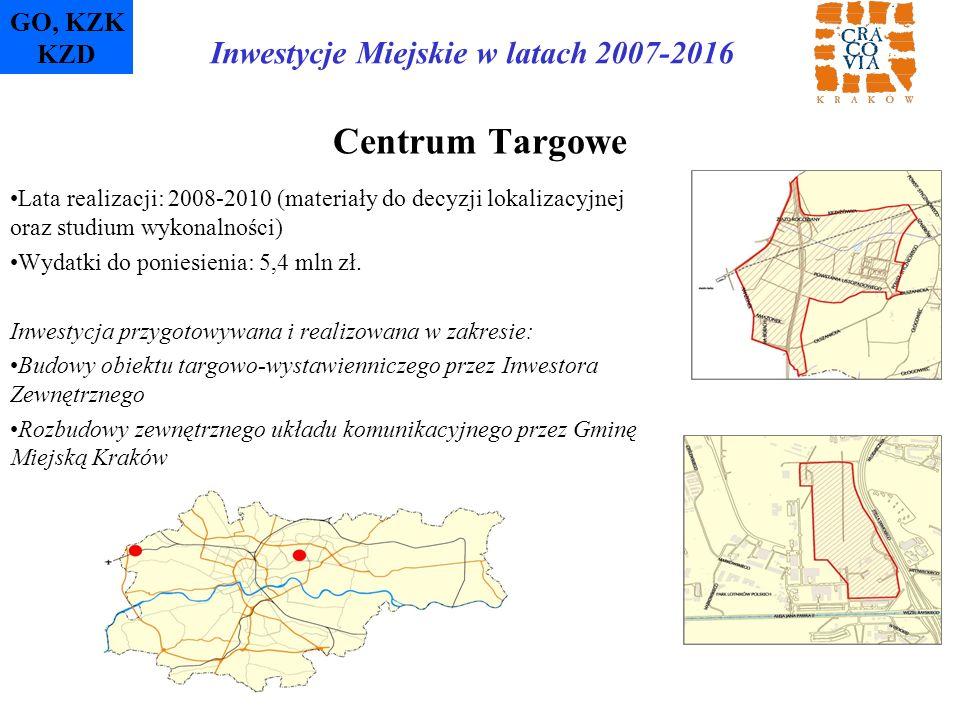 Centrum Targowe Lata realizacji: 2008-2010 (materiały do decyzji lokalizacyjnej oraz studium wykonalności) Wydatki do poniesienia: 5,4 mln zł. Inwesty