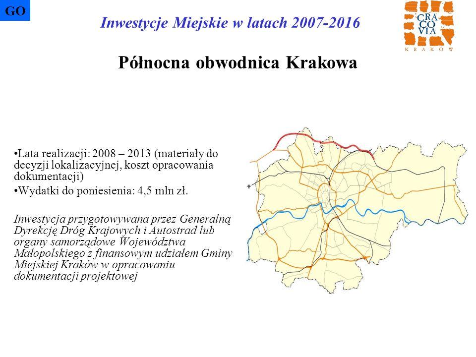 Północna obwodnica Krakowa Lata realizacji: 2008 – 2013 (materiały do decyzji lokalizacyjnej, koszt opracowania dokumentacji) Wydatki do poniesienia:
