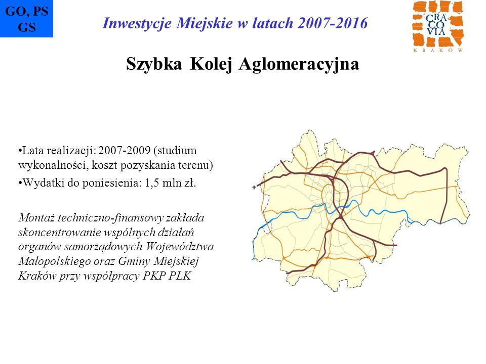 Szybka Kolej Aglomeracyjna Lata realizacji: 2007-2009 (studium wykonalności, koszt pozyskania terenu) Wydatki do poniesienia: 1,5 mln zł. Montaż techn