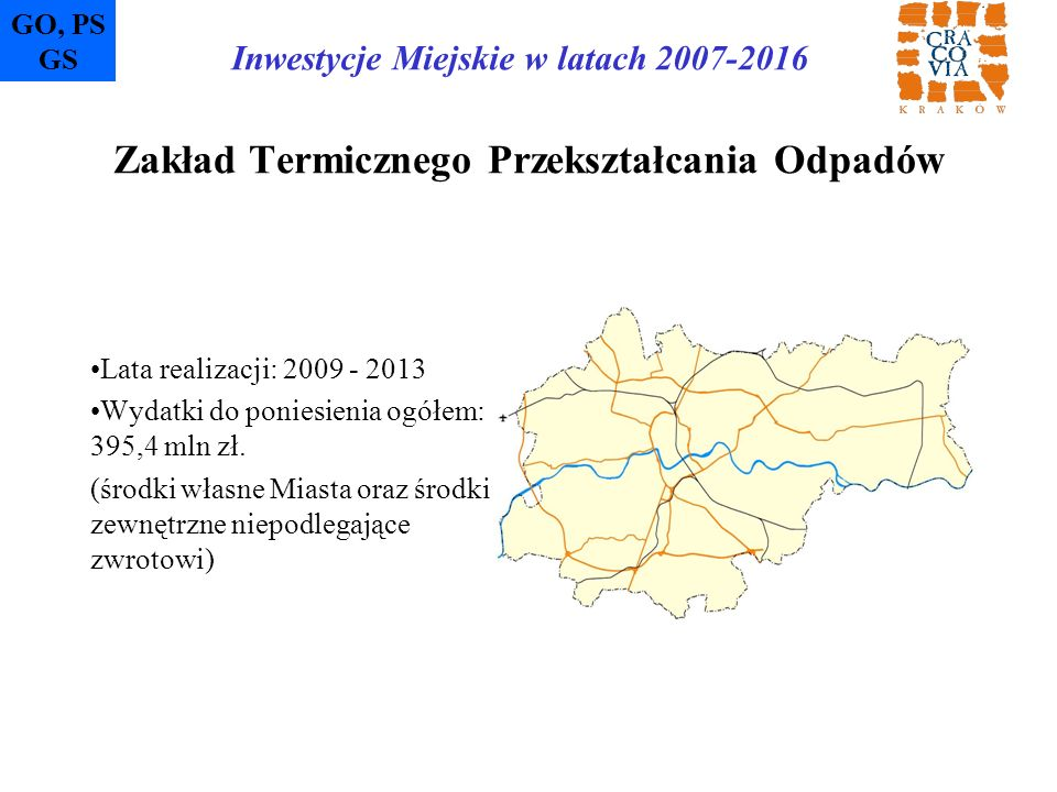 Zakład Termicznego Przekształcania Odpadów Lata realizacji: 2009 - 2013 Wydatki do poniesienia ogółem: 395,4 mln zł. (środki własne Miasta oraz środki
