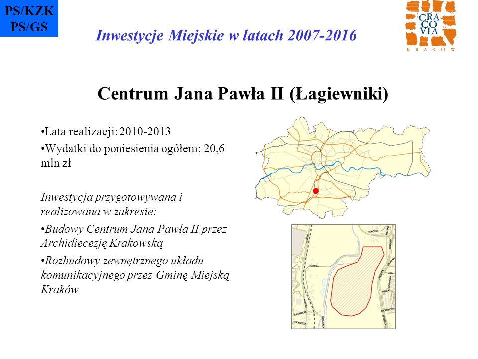 Centrum Jana Pawła II (Łagiewniki) Lata realizacji: 2010-2013 Wydatki do poniesienia ogółem: 20,6 mln zł Inwestycja przygotowywana i realizowana w zak