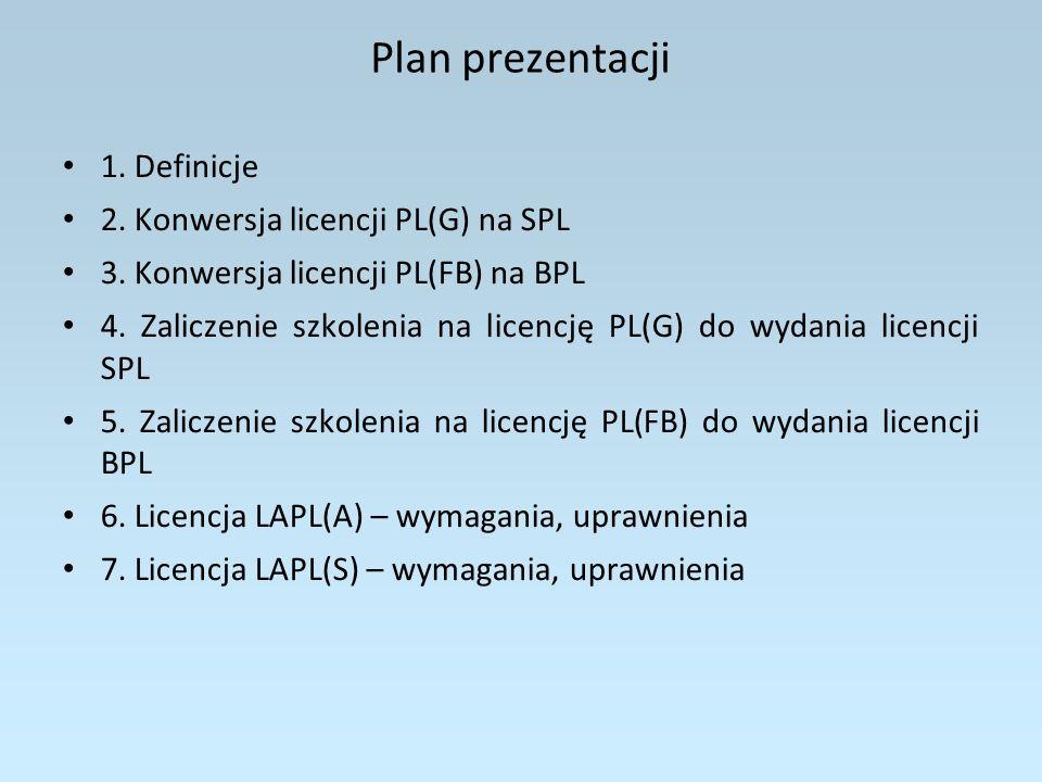 Plan prezentacji 8.Licencja LAPL(B) – wymagania, uprawnienia 9.