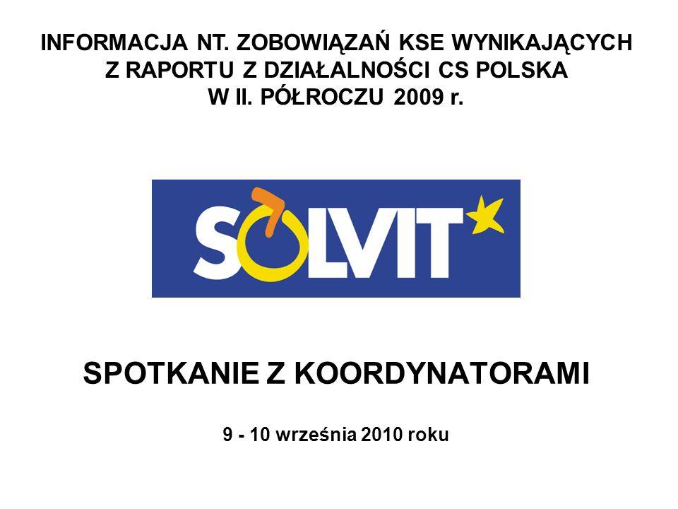 ZOBOWIĄZANIA Uzupełnianie listy koordynatorów Regularna aktualizacja tabeli SOLVIT + Zaangażowanie KKTD w sprawy SOLVIT + Stosowanie formularzy opinii prawnych Nałożenie nowych terminów