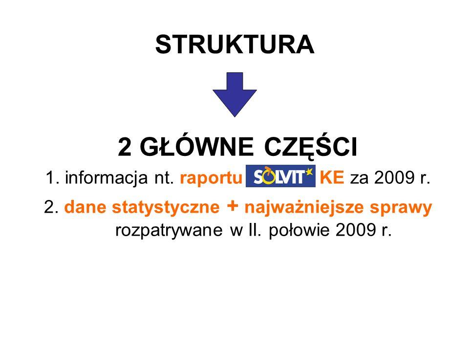 STRUKTURA 2 GŁÓWNE CZĘŚCI 1. informacja nt. raportu SOLVIT KE za 2009 r.
