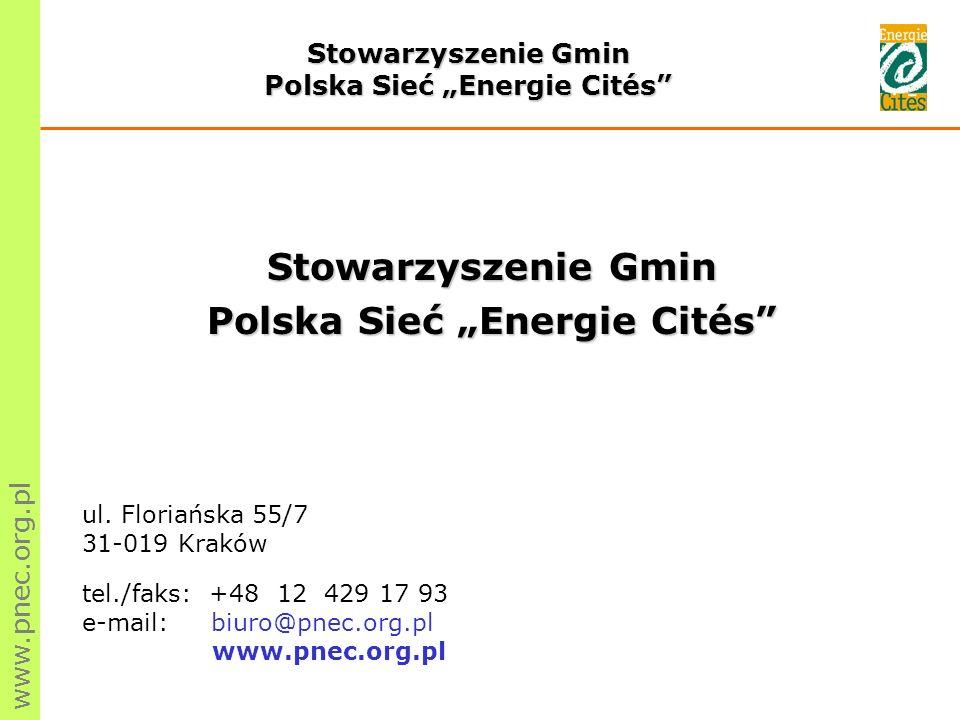 www.pnec.org.pl Stowarzyszenie jest pozarządową organizacją pożytku publicznego, nie działającą dla zysku.