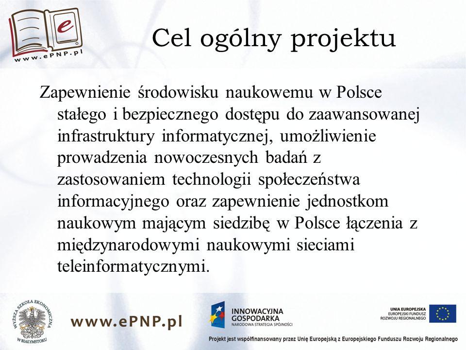 Cel ogólny projektu Zapewnienie środowisku naukowemu w Polsce stałego i bezpiecznego dostępu do zaawansowanej infrastruktury informatycznej, umożliwienie prowadzenia nowoczesnych badań z zastosowaniem technologii społeczeństwa informacyjnego oraz zapewnienie jednostkom naukowym mającym siedzibę w Polsce łączenia z międzynarodowymi naukowymi sieciami teleinformatycznymi.