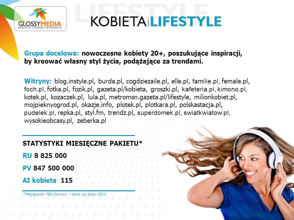 STATYSTYKI MIESIĘCZNE PAKIETU*: RU 4 055 000 PV 34 150 000 AI kobieta 117 Grupa docelowa: matki oraz kobiety, które dopiero nimi będą.