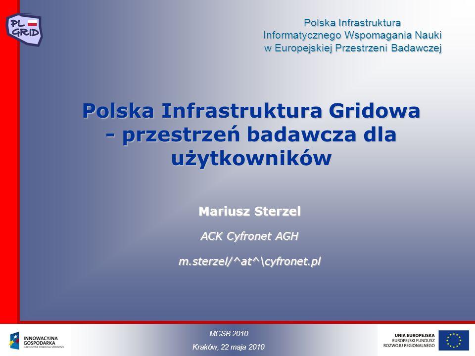 Polska Infrastruktura Informatycznego Wspomagania Nauki w Europejskiej Przestrzeni Badawczej Polska Infrastruktura Gridowa - przestrzeń badawcza dla u