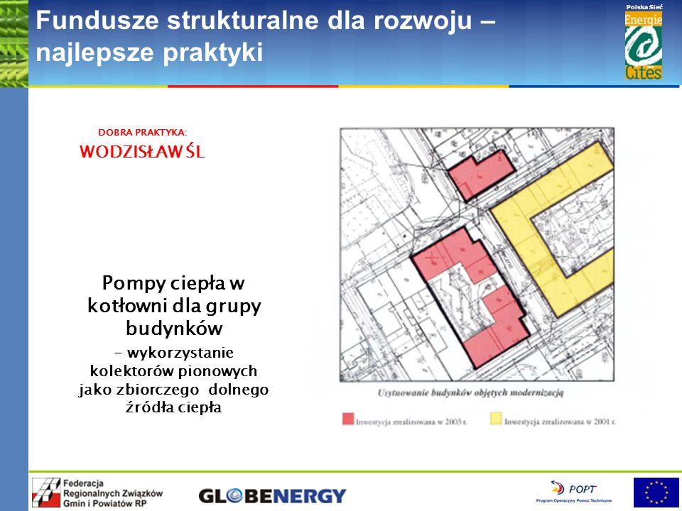 www.pnec.org.pl Polska Sieć www.dobrepraktyki.org.pl Fundusze strukturalne dla rozwoju – najlepsze praktyki Pompy ciepła w kotłowni dla grupy budynków - wykorzystanie kolektorów pionowych jako zbiorczego dolnego źródła ciepła DOBRA PRAKTYKA: WODZISŁAW ŚL