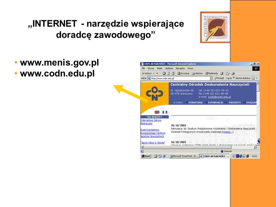 www.menis.gov.pl www.codn.edu.pl INTERNET - narzędzie wspierające doradcę zawodowego