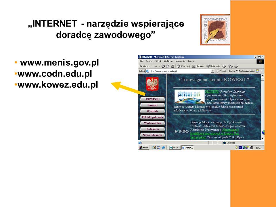 www.menis.gov.pl www.codn.edu.pl www.kowez.edu.pl INTERNET - narzędzie wspierające doradcę zawodowego