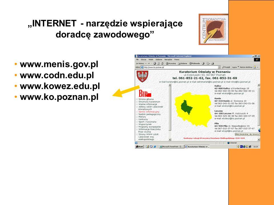 www.menis.gov.pl www.codn.edu.pl www.kowez.edu.pl www.ko.poznan.pl INTERNET - narzędzie wspierające doradcę zawodowego