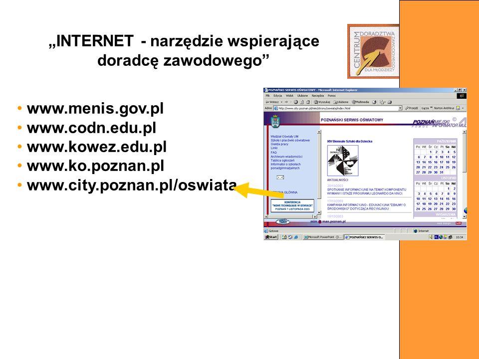 www.menis.gov.pl www.codn.edu.pl www.kowez.edu.pl www.ko.poznan.pl www.city.poznan.pl/oswiata INTERNET - narzędzie wspierające doradcę zawodowego