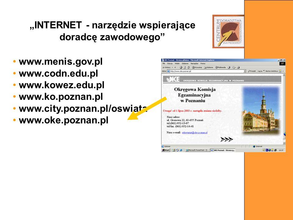 www.menis.gov.pl www.codn.edu.pl www.kowez.edu.pl www.ko.poznan.pl www.city.poznan.pl/oswiata www.oke.poznan.pl INTERNET - narzędzie wspierające dorad
