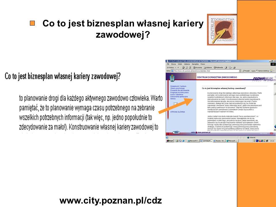 Co to jest biznesplan własnej kariery zawodowej? www.city.poznan.pl/cdz