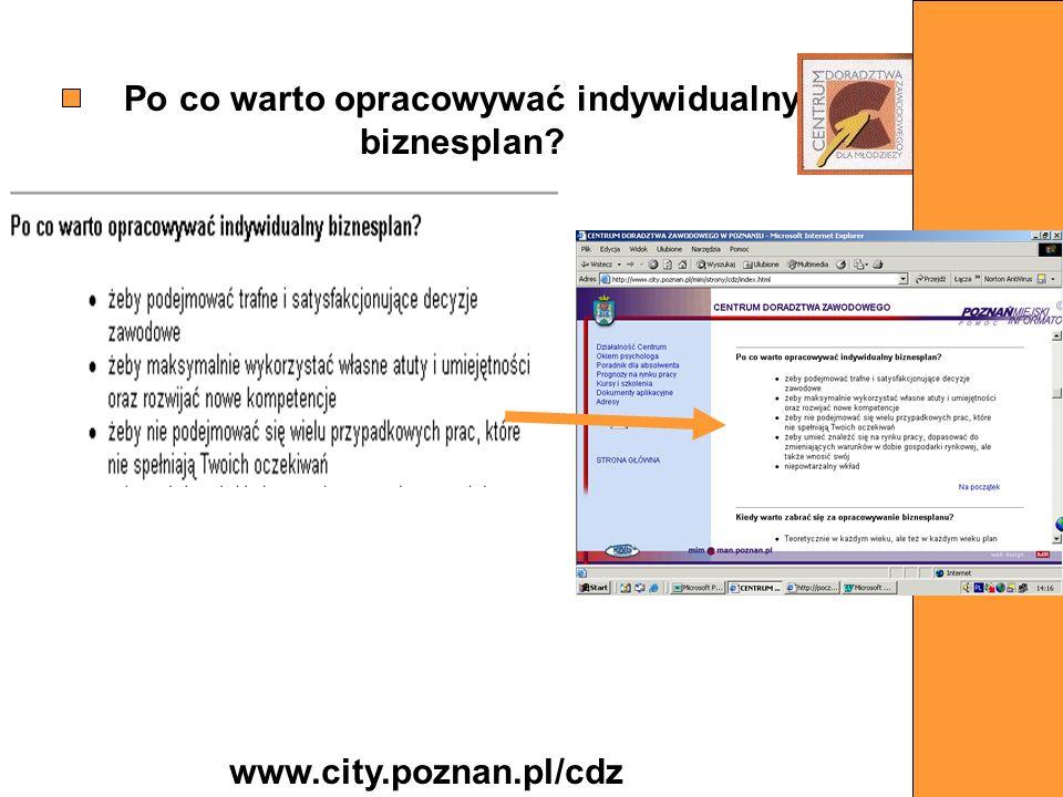 Po co warto opracowywać indywidualny biznesplan? www.city.poznan.pl/cdz
