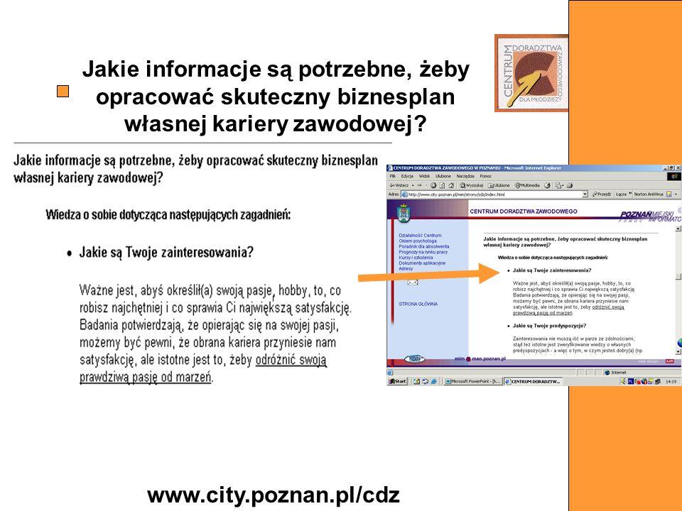 Jakie informacje są potrzebne, żeby opracować skuteczny biznesplan własnej kariery zawodowej? www.city.poznan.pl/cdz