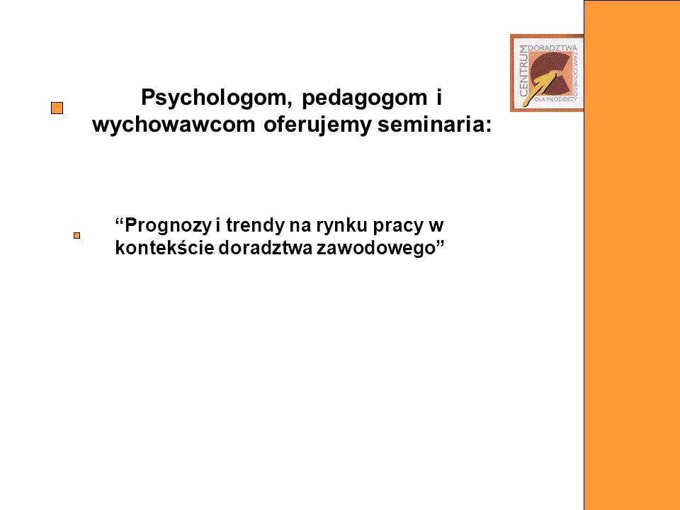 Psychologom, pedagogom i wychowawcom oferujemy seminaria: Prognozy i trendy na rynku pracy w kontekście doradztwa zawodowego
