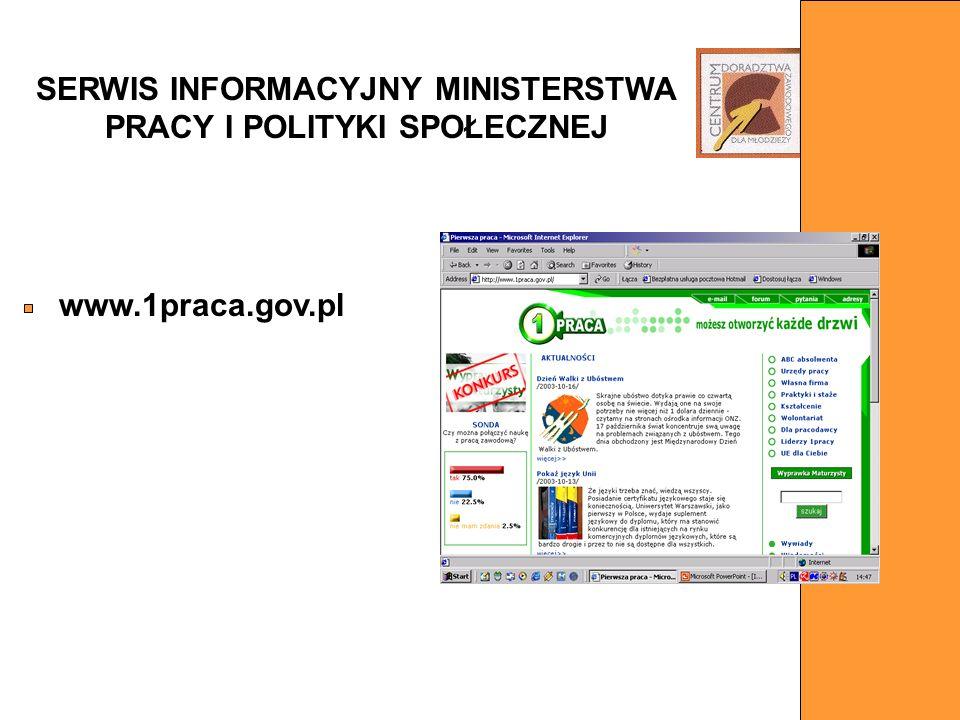 SERWIS INFORMACYJNY MINISTERSTWA PRACY I POLITYKI SPOŁECZNEJ www.1praca.gov.pl