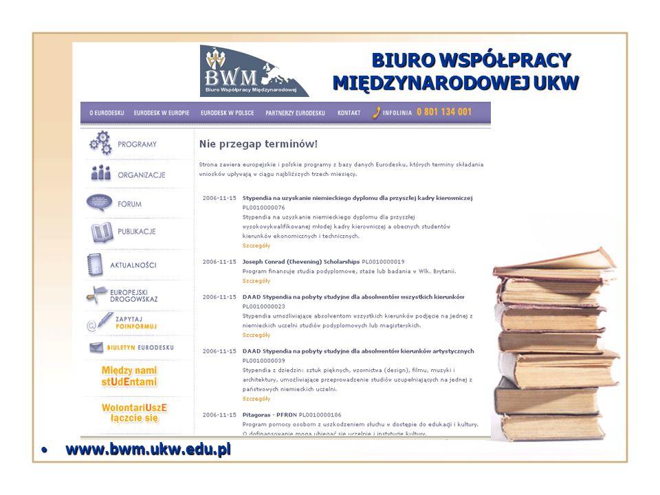 BIURO WSPÓŁPRACY MIĘDZYNARODOWEJ UKW www.bwm.ukw.edu.plwww.bwm.ukw.edu.pl