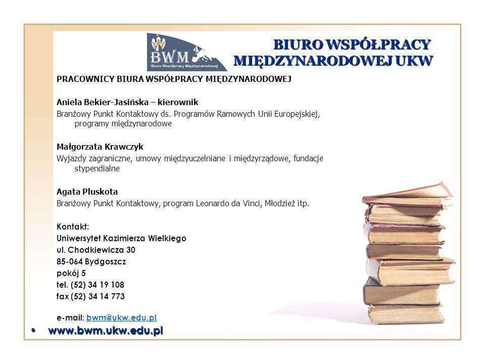 BIURO WSPÓŁPRACY MIĘDZYNARODOWEJ UKW PRACOWNICY BIURA WSPÓŁPRACY MIĘDZYNARODOWEJ Aniela Bekier-Jasińska – kierownik Branżowy Punkt Kontaktowy ds. Prog