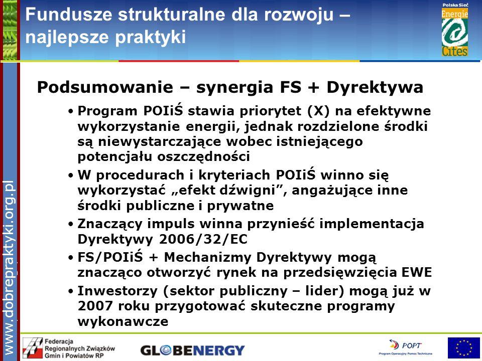 www.pnec.org.pl Polska Sieć www.dobrepraktyki.org.pl Fundusze strukturalne dla rozwoju – najlepsze praktyki Podsumowanie – synergia FS + Dyrektywa Pro