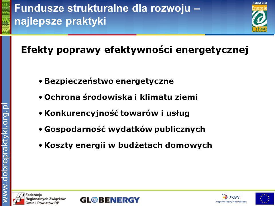 www.pnec.org.pl Polska Sieć www.dobrepraktyki.org.pl Fundusze strukturalne dla rozwoju – najlepsze praktyki Efekty poprawy efektywności energetycznej
