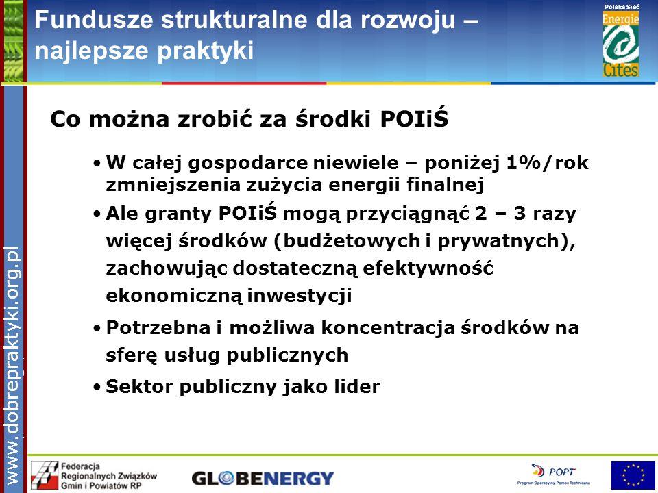 www.pnec.org.pl Polska Sieć www.dobrepraktyki.org.pl Fundusze strukturalne dla rozwoju – najlepsze praktyki Co można zrobić za środki POIiŚ W całej go
