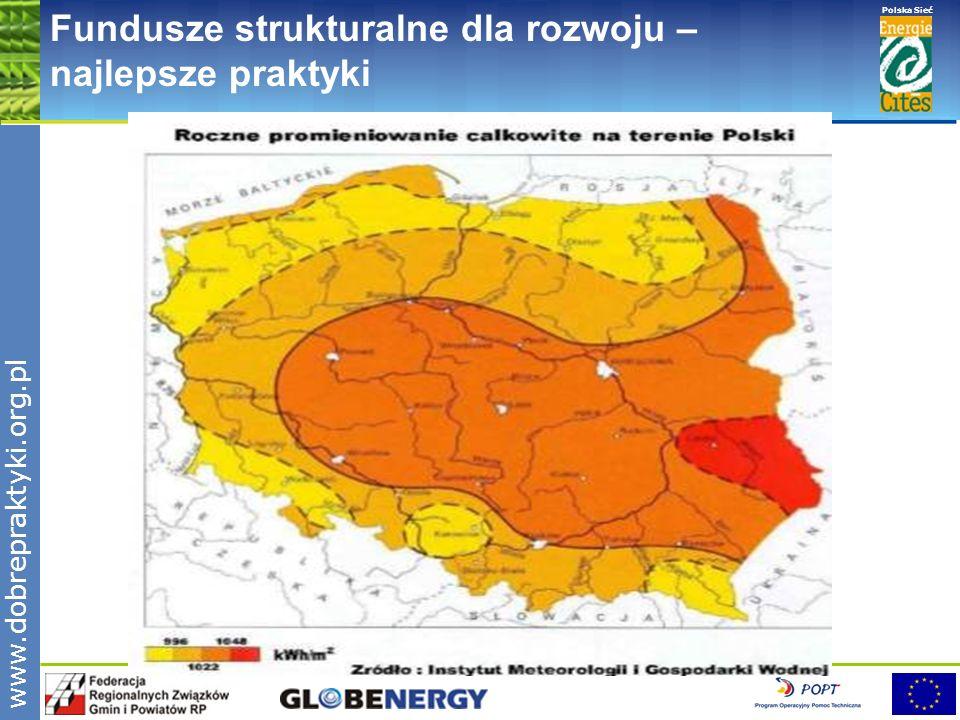 www.pnec.org.pl Polska Sieć www.dobrepraktyki.org.pl Fundusze strukturalne dla rozwoju – najlepsze praktyki Energia promieniowania słonecznego w kraju może być wykorzystywana do celów grzewczych w: budownictwie rolnictwie drobnym przemyśle turystyce i rekreacji Do podstawowych rozwiązań instalacyjnych należą: aktywne cieczowe systemy słoneczne do podgrzewania ciepłej wody użytkowej wyposażone w kolektory słoneczne