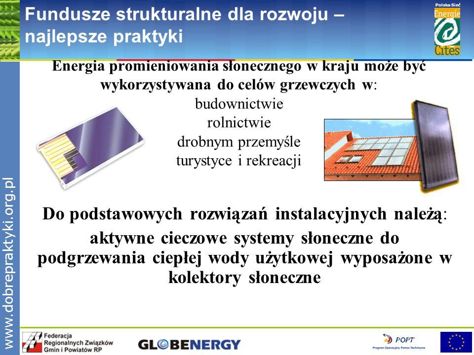 www.pnec.org.pl Polska Sieć www.dobrepraktyki.org.pl Fundusze strukturalne dla rozwoju – najlepsze praktyki Energia promieniowania słonecznego w kraju