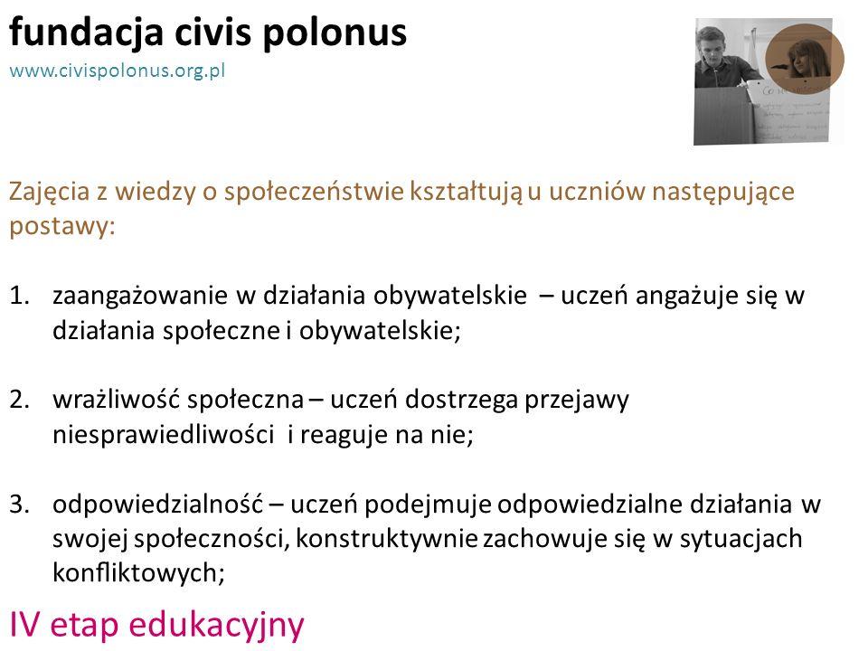 fundacja civis polonus www.civispolonus.org.pl Zajęcia z wiedzy o społeczeństwie kształtują u uczniów następujące postawy: 1.zaangażowanie w działania