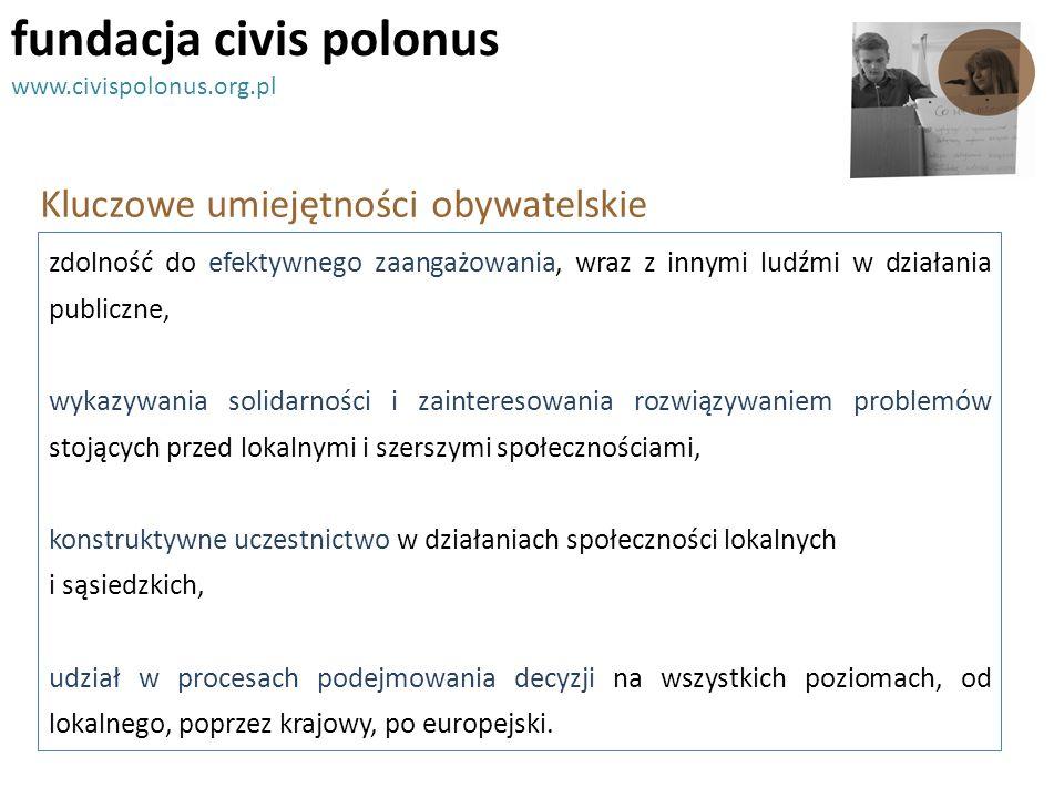 Kluczowe umiejętności obywatelskie fundacja civis polonus www.civispolonus.org.pl zdolność do efektywnego zaangażowania, wraz z innymi ludźmi w działa