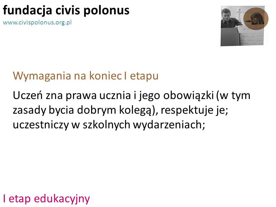Wymagania na koniec I etapu fundacja civis polonus www.civispolonus.org.pl Uczeń zna prawa ucznia i jego obowiązki (w tym zasady bycia dobrym kolegą),