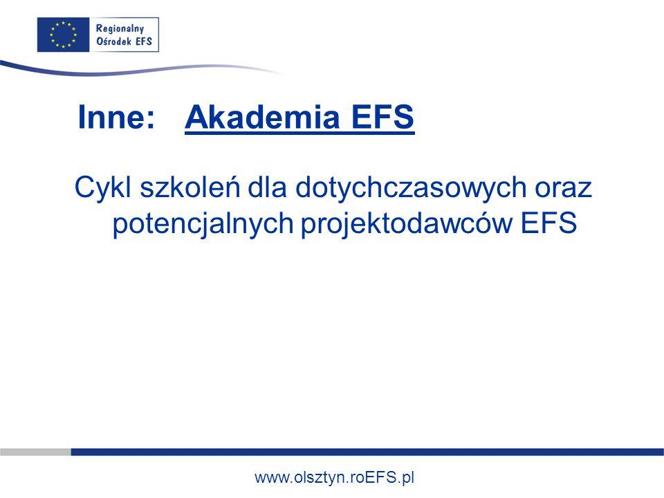 www.olsztyn.roEFS.pl Inne: Akademia EFS Cykl szkoleń dla dotychczasowych oraz potencjalnych projektodawców EFS