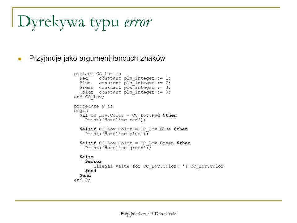 Filip Jakubowski-Drzewiecki Dyrekywa typu error Przyjmuje jako argument łańcuch znaków