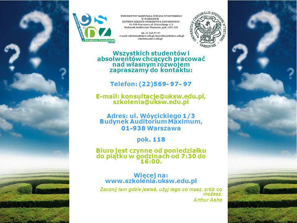 Wszystkich studentów i absolwentów chcących pracować nad własnym rozwojem zapraszamy do kontaktu: Telefon: (22)569- 97- 97 E-mail: konsultacje@uksw.edu.pl, szkolenia@uksw.edu.pl Adres: ul.