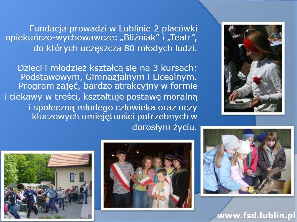 Fundacja prowadzi w Lublinie 2 placówki opiekuńczo-wychowawcze: Bliźniak i Teatr, do których uczęszcza 80 młodych ludzi. Dzieci i młodzież kształcą si