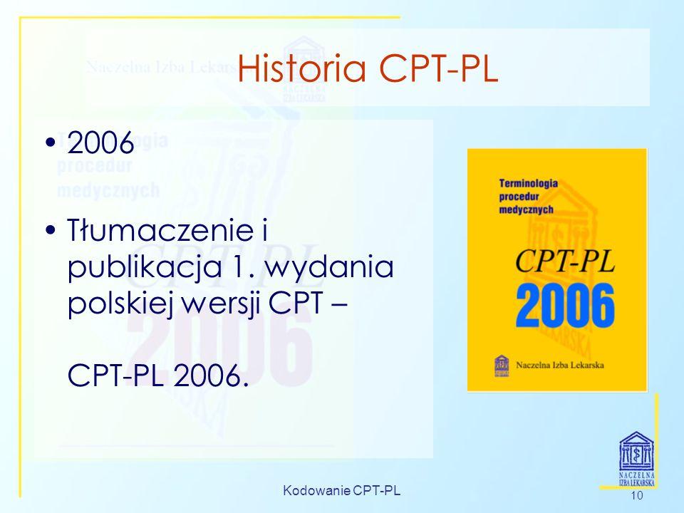 Kodowanie CPT-PL 10 Historia CPT-PL 2006 Tłumaczenie i publikacja 1. wydania polskiej wersji CPT – CPT-PL 2006.