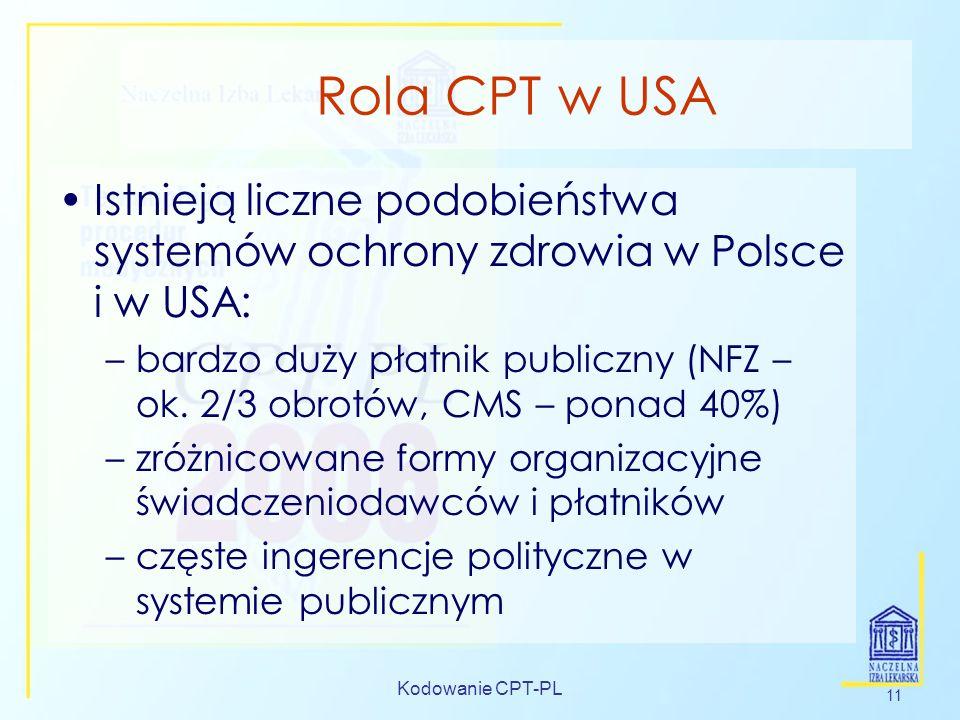 Kodowanie CPT-PL 11 Rola CPT w USA Istnieją liczne podobieństwa systemów ochrony zdrowia w Polsce i w USA: –bardzo duży płatnik publiczny (NFZ – ok. 2