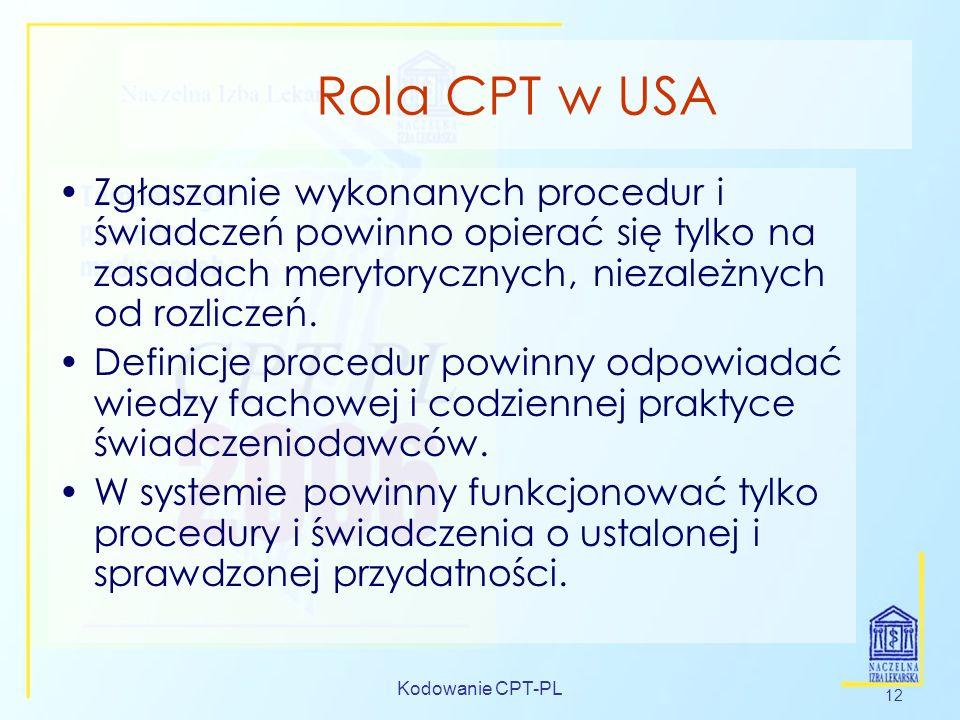 Kodowanie CPT-PL 12 Rola CPT w USA Zgłaszanie wykonanych procedur i świadczeń powinno opierać się tylko na zasadach merytorycznych, niezależnych od ro