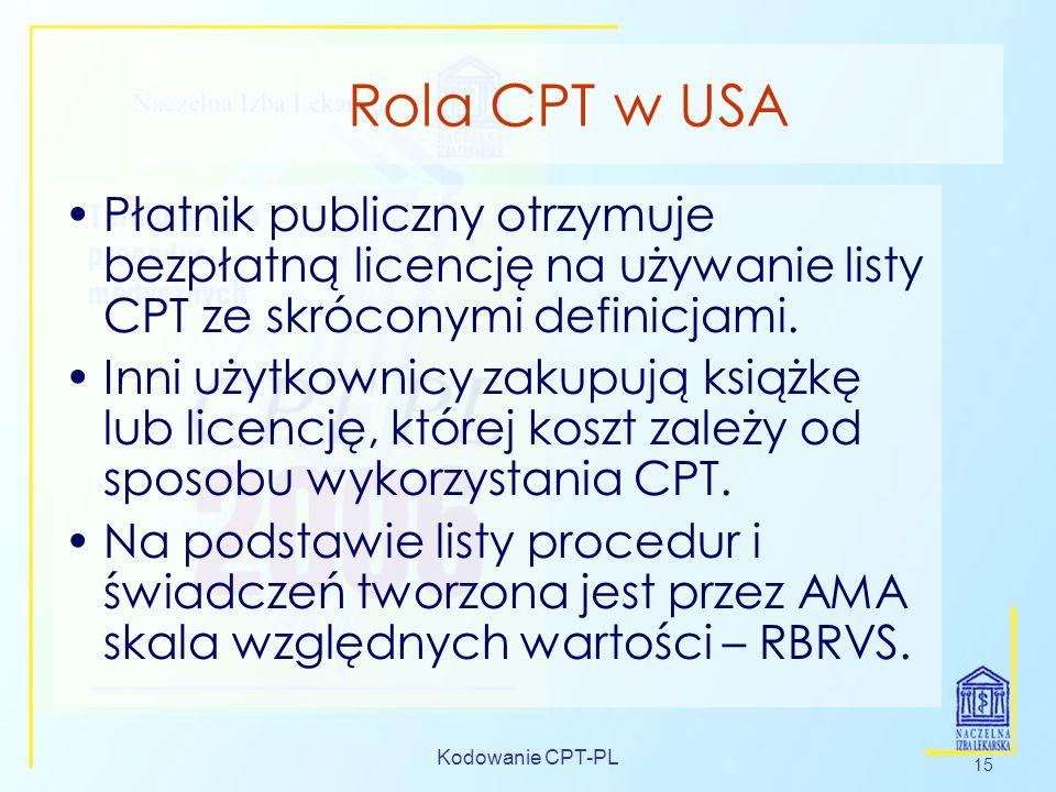 Kodowanie CPT-PL 15 Rola CPT w USA Płatnik publiczny otrzymuje bezpłatną licencję na używanie listy CPT ze skróconymi definicjami. Inni użytkownicy za