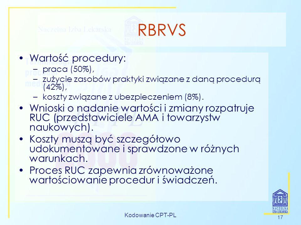 Kodowanie CPT-PL 17 RBRVS Wartość procedury: –praca (50%), –zużycie zasobów praktyki związane z daną procedurą (42%), –koszty związane z ubezpieczenie