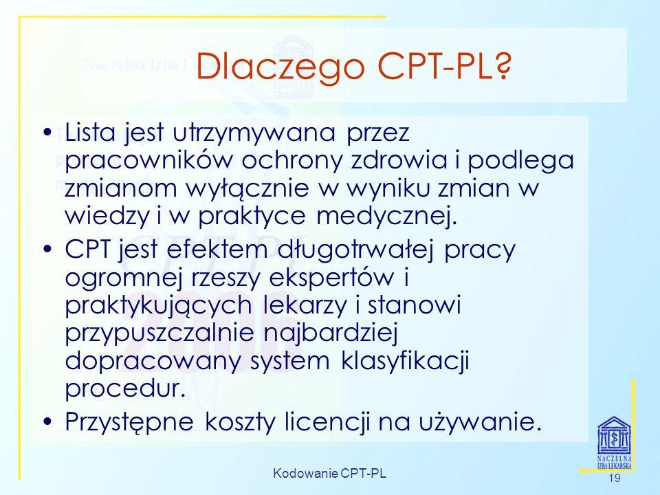 Kodowanie CPT-PL 19 Dlaczego CPT-PL? Lista jest utrzymywana przez pracowników ochrony zdrowia i podlega zmianom wyłącznie w wyniku zmian w wiedzy i w