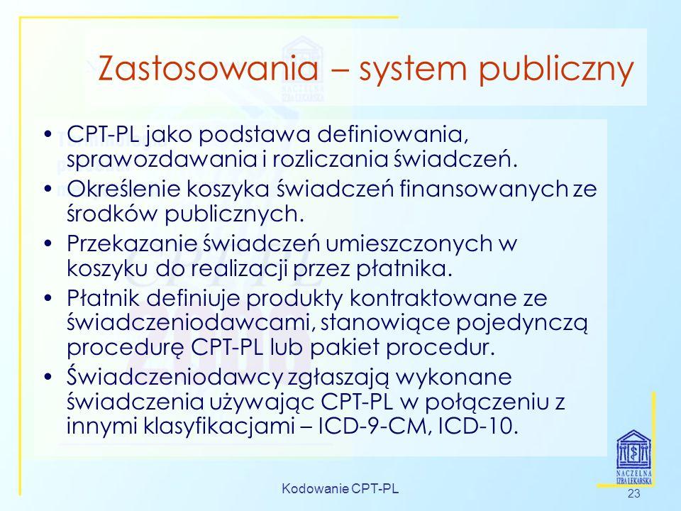 Kodowanie CPT-PL 23 Zastosowania – system publiczny CPT-PL jako podstawa definiowania, sprawozdawania i rozliczania świadczeń. Określenie koszyka świa