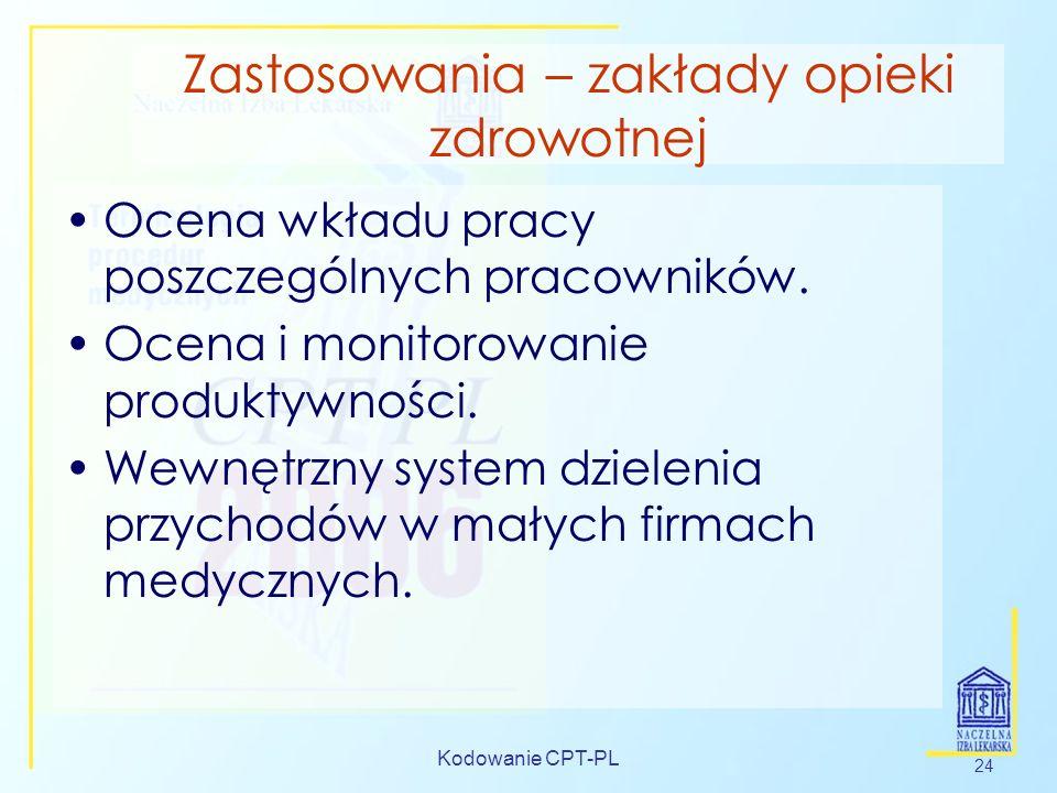 Kodowanie CPT-PL 24 Zastosowania – zakłady opieki zdrowotnej Ocena wkładu pracy poszczególnych pracowników. Ocena i monitorowanie produktywności. Wewn