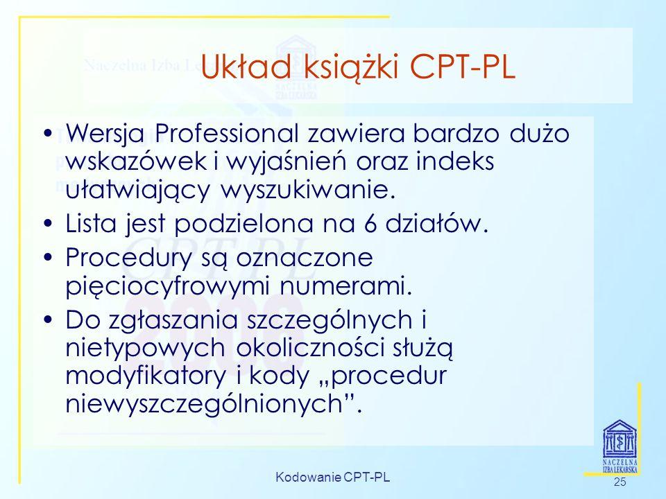 Kodowanie CPT-PL 25 Układ książki CPT-PL Wersja Professional zawiera bardzo dużo wskazówek i wyjaśnień oraz indeks ułatwiający wyszukiwanie. Lista jes