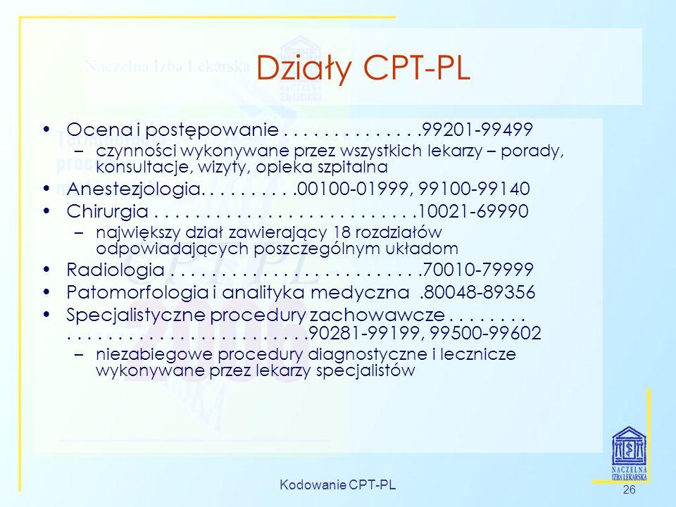 Kodowanie CPT-PL 26 Działy CPT-PL Ocena i postępowanie..............99201-99499 –czynności wykonywane przez wszystkich lekarzy – porady, konsultacje,