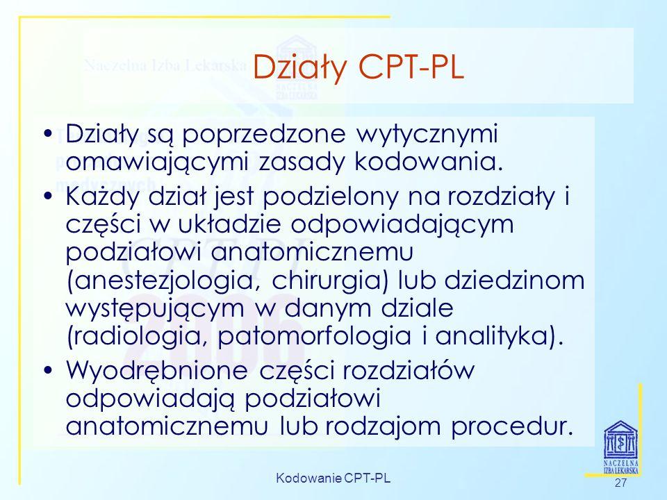 Kodowanie CPT-PL 27 Działy CPT-PL Działy są poprzedzone wytycznymi omawiającymi zasady kodowania. Każdy dział jest podzielony na rozdziały i części w